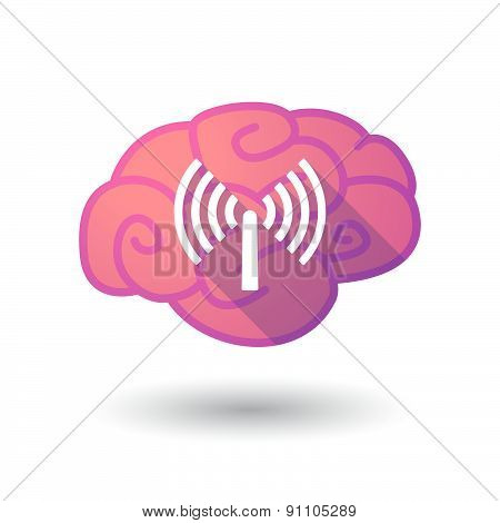 Brain Icon With An Antenna