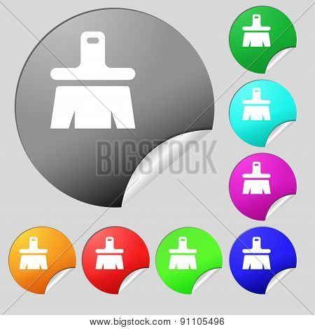 Paint Brush, Artist  Icon Sign. Set Of Eight Multi-colored Round Buttons, Stickers. Vector