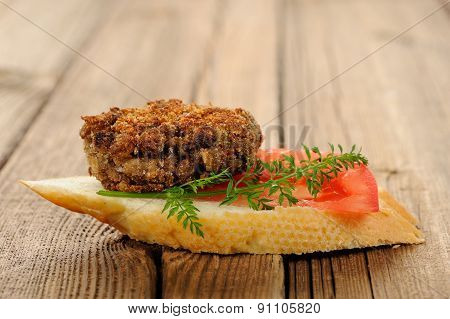 Lentil Patty Bruschetta With Tomato And Carrot Greens