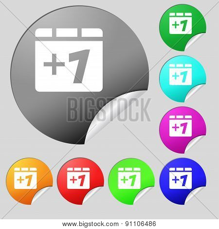 Plus One, Add One  Icon Sign. Set Of Eight Multi-colored Round Buttons, Stickers. Vector