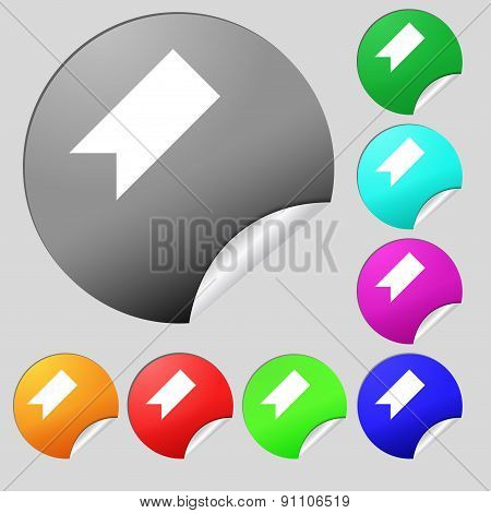 Bookmark  Icon Sign. Set Of Eight Multi-colored Round Buttons, Stickers. Vector
