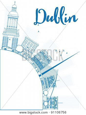 Outline Dublin Skyline with Blue Buildings and copy space, Ireland. Vector Illustration