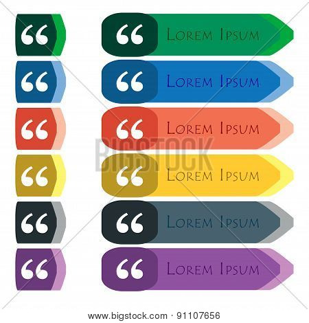 Double Quotes At The Beginning Of Words  Icon Sign. Set Of Colorful, Bright Long Buttons With Additi