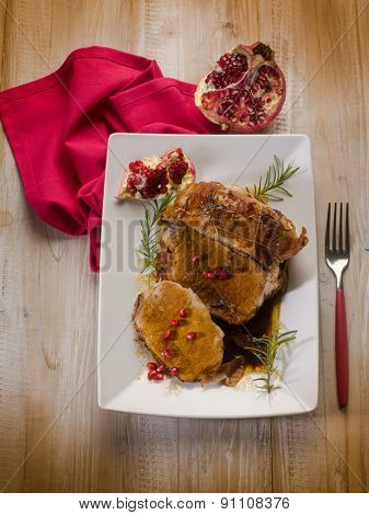 meat roasted with pomegranate