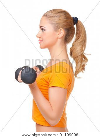 Young smiling woman with dumbbells isolated