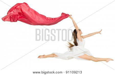 Young dancing girl isolated on white