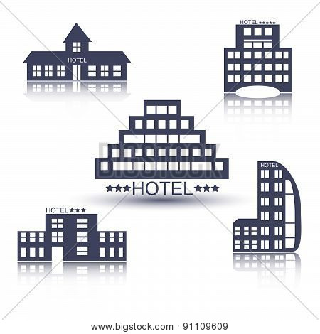Hotel buildings flat design set