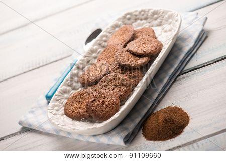 homemade coffee cookie, selective focus