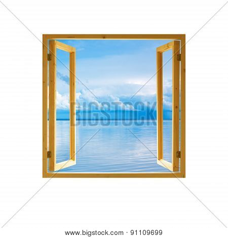 frame of open wooden window, sky water and clouds view background