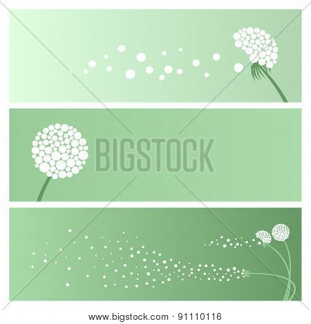 Set Of Abstract Banners With Dandelions