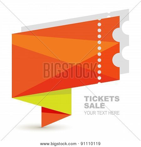 Abstract Orange Paper Ticket Illustration Background. Vector Logo Design Template