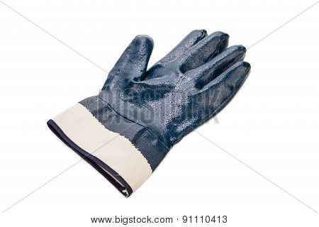 Close up of blue rubber glove.