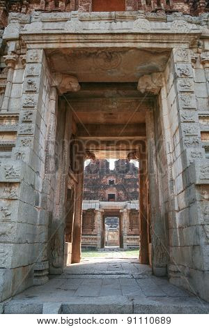 Big doorway at ruins in hampi