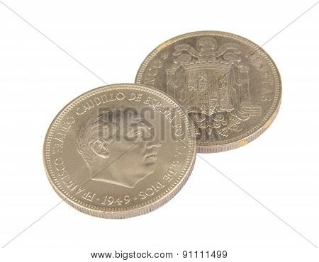 Two old Spanish coins of 5 pesetas showing Franco face isolated on a white background. 1949