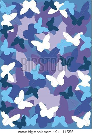 Blue butterflies vector background