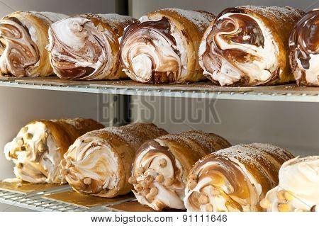 Assorted Semifreddo Desserts In A Refrigerator