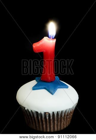 Cupcake And Number One Candle