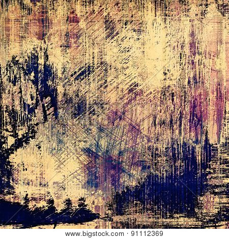 Grunge stained texture, distressed background with space for text or image. With different color patterns: yellow (beige); brown; blue; purple (violet)