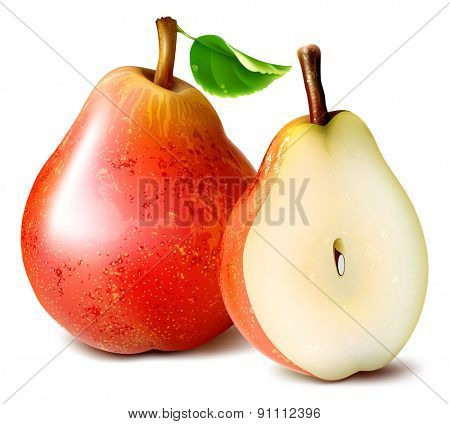 Ripe red pears with leaf. vector illustration.