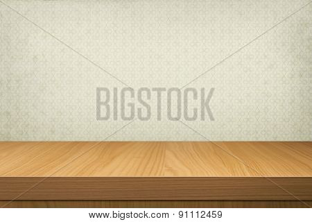 Empty Wooden Table Over Retro Wallpaper