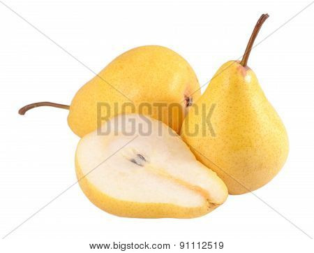 Whole And Cut Pears On A White