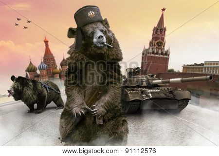 Russian Bears With The Kalashnikov Guns On The Red Square.