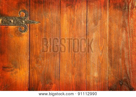 Old Wooden Vintage Door With Metal Hinge