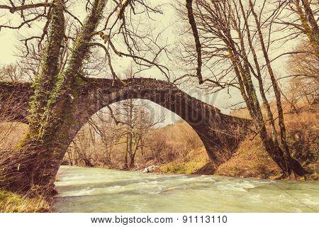 Traditional stone bridge in  Greece