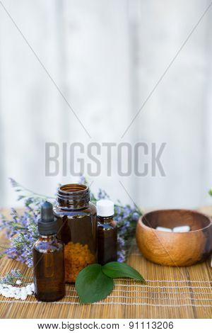 Herbal medicine on wooden background