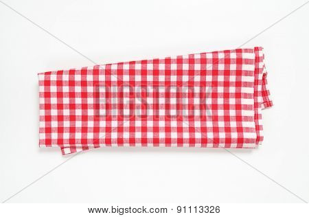 red and white checkered tablecloth on white background