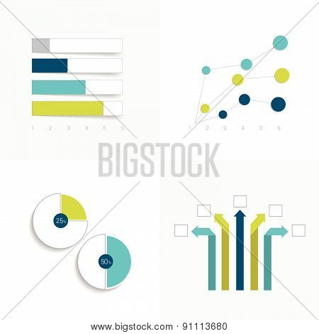 Flat Set Of Charts And Brochure Elements