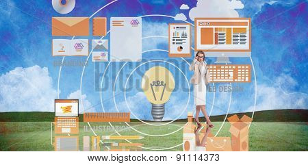 Smart businesswoman against painted country scene