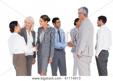 Business people speaking together on white background