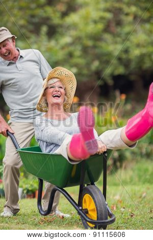 Happy senior couple playing with a wheelbarrow in a sunny day