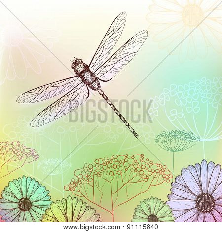 Flower Background Sketch With Dragonfly
