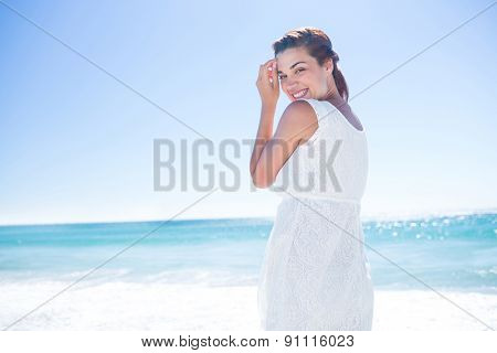 Pretty brunette walking beside the water at the beach