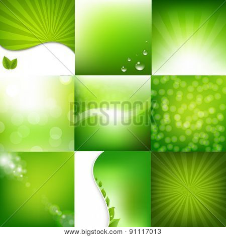 Eco Green Posters Set With Gradient Mesh, Vector Illustration