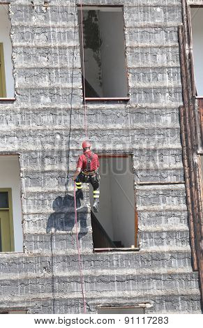 Climber Of Firefighters During Exercise