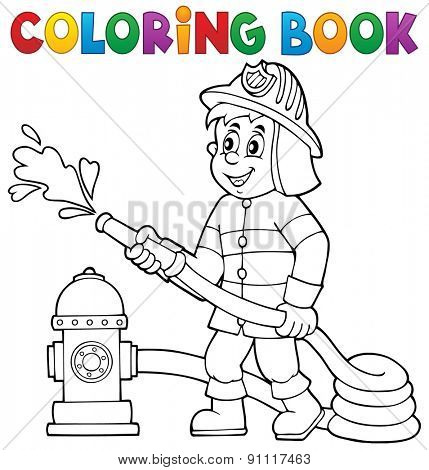 Coloring book firefighter theme 1 - eps10 vector illustration.