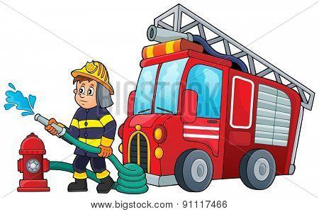 Firefighter theme image 3 - eps10 vector illustration.