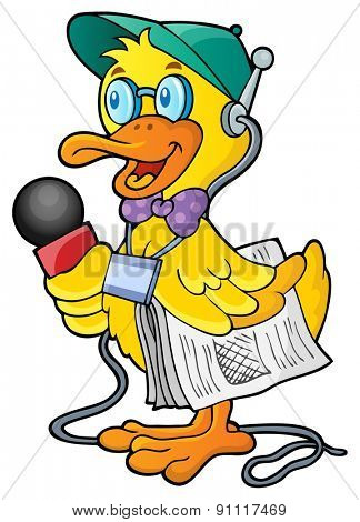 Duck reporter theme image 1 - eps10 vector illustration.