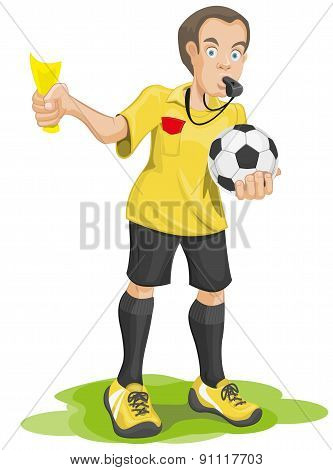 Soccer referee whistles and shows yellow card.