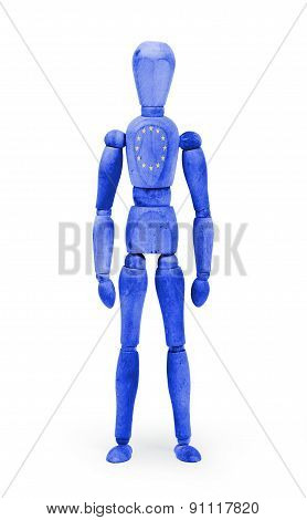Wood Figure Mannequin With Flag Bodypaint - European Union