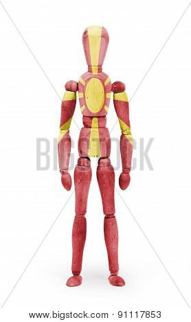 Wood Figure Mannequin With Flag Bodypaint - Macedonia