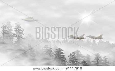 Ufo In A Landscape Of Misty Forest At Sunrise