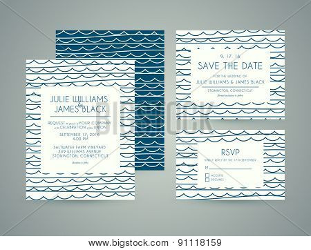Vector set Wedding invitation cards with abstract water background. Template Wedding invitations or announcements