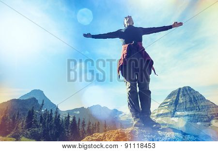 Happy man in mountains