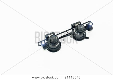 Microscope Eyes Glasses Open Torch Isolated