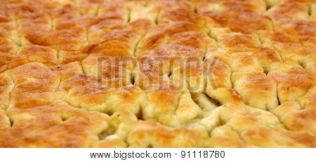 Baked Bread  Italian Specialty Called Focaccia Genovese