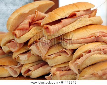 Tasty Ham Sandwiches On Sale At The Bar